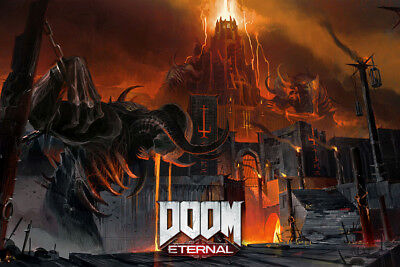 "Doom Eternal Art Poster 48x32"" 36x24"" Video Game 2018 Cover Print Silk"