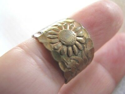 HAMMERED Copper/Brass ETCHED REPOUSSE Adjustable BAND RING Flower HIPPIE VINTAGE