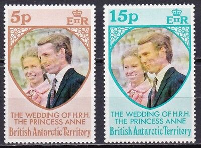 British Antarctic Territory #60-61 Mnh Princess Anne's Wedding Issue