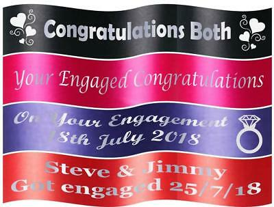 """45mm Personalised Printed """"ENGAGEMENT"""" Ribbon with White Writing"""