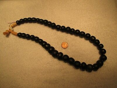 Dark Cobalt Oval Dutch Dogon Trade Bead Necklace (41) Beads...