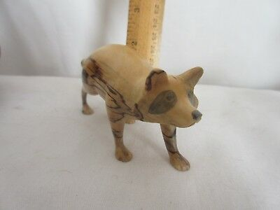 "HAND CARVED WOODEN FOX Figurine, VINTAGE 1980'S, 5.25"" BY 2.25""  by HGB"