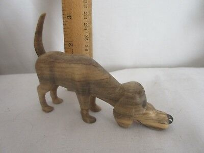 "HAND CARVED WOODEN DOG Figurine, VINTAGE 1980'S, 4.25"" BY 3.25""  by HGB"