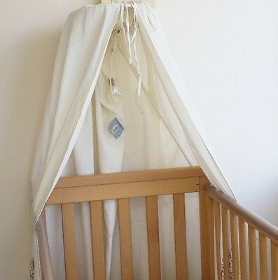 Cot Canopy Drape Baby Cream Boy Girl Linen Horse Noukie's Red Indian 240cm Wide