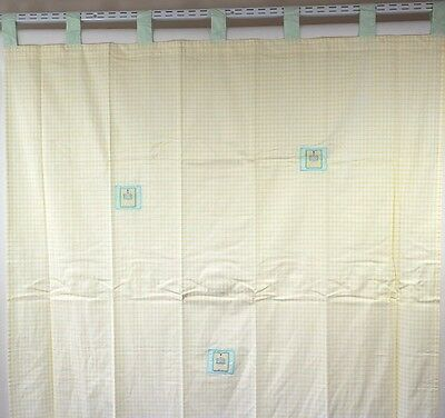 Curtain Bedroom 72 Inch Tab Top Teddy Time Nursery Yellow Checked Embroidered