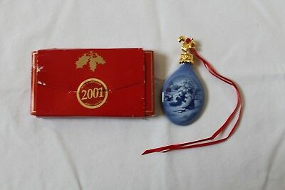 Bing & Grondahl Christmas Drop Ornament 2001 Playing In The Snow With Box