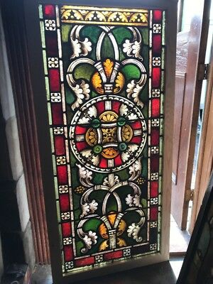 SG 2416 antique painted and fired Stainglass window Gothic 29.75 x 60.5