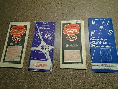 Vintage 4 L0T 1930's-40's AAA Road Maps~North South Central States~MN.~Canada