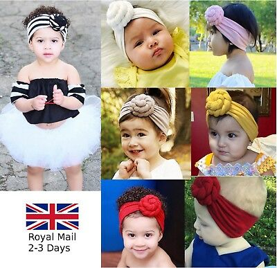 Baby Girls Spiral Bun Candy Headband Hair band Head Wrap Stripe Plain