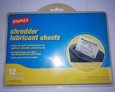 Staples Shredder Lubricant Sheets 12 Pack Shredder Sheets