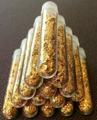 10 Large 3ml Vials.. Filled Full of Gold Leaf Flakes .. Lowest price online !!