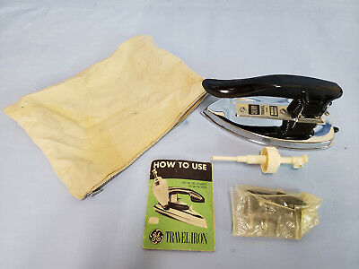 Antique Collectable Ge Travel Iron W All Paper And Accessories Mint