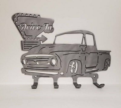 Drive In Sign with 50's F-Series * Metal Wall Hanger to hold Hats, Jackets, etc!
