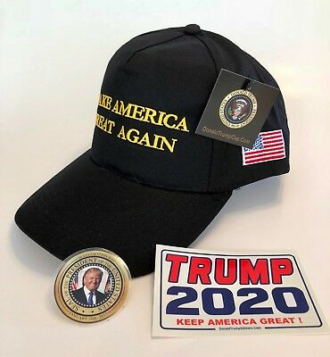 President Donald Trump Hat...Make America Great Again... MAGA ..Black + 2 Decals