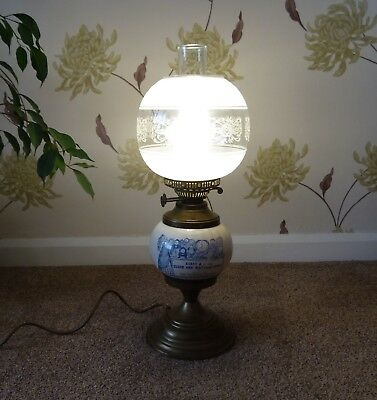 Reproduction Oil Lamp Converted To Electric With Karat & Dial Clockmakers Label