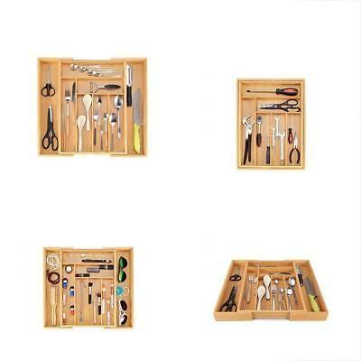 Bamboo Expandable Cutlery Drawer Organizer - Kitchen Utensil 8 Compartment Tray