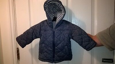 NWOT F & F Blue Quilted Hooded Coat Age 6-9 Months