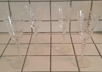 4 Antique 1930's Cut Crystal Goblets Wine Water Glasses