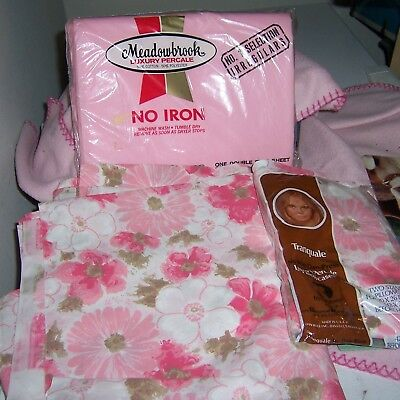 Vintage Meadowbrook Flat Sheet & Tranquale Pillow Cases In Package + Sheet
