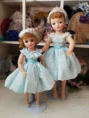 Pretty blue Shadowprint Sister set for Madame Alexander Cissy & Elise dolls