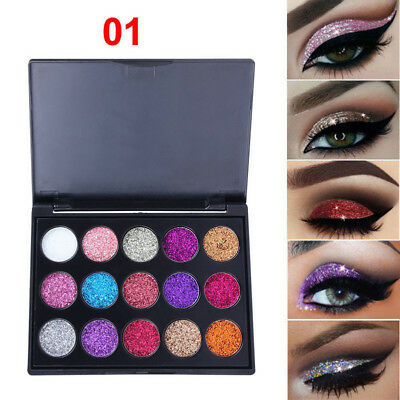 Women Sparkly Makeup Cosmetic Glitter Loose Powder Eye Shadow Pigment 15Colors F