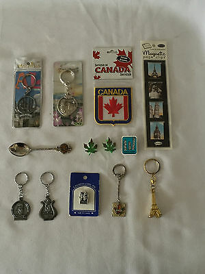 Lot of Assorted INTERNATIONAL Souvenirs - Keychains, Magnets, Pins, Spoon ++