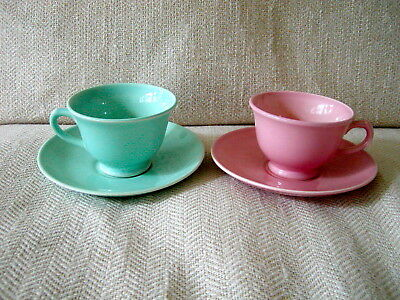 Lot of 2 Sets TS&T LuRay Pastels Coffee Cups & Saucers Pink Green