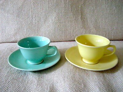 Lot of 2 Sets TS&T LuRay Pastels Coffee Cups & Saucers Yellow & Green