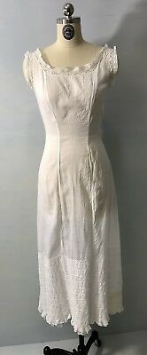 CA- Antique vtg Victorian Edwardian sheer white lace long slip dress gown XS/S