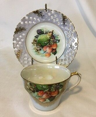 Vintage Napco Tea Set & Saucer, Fruit, Hand Painted, Lustreware Japan