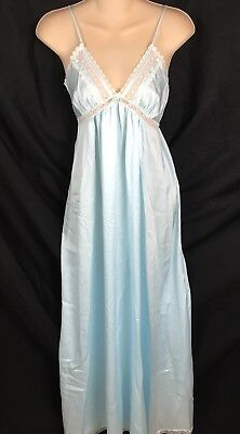 Christian Dior Lingerie Full Length Long Nightgown Blue Lace Trim Size Petite