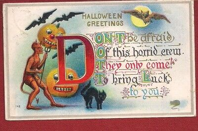 1910 HALLOWEEN Postcard Devil Black Cat Bats