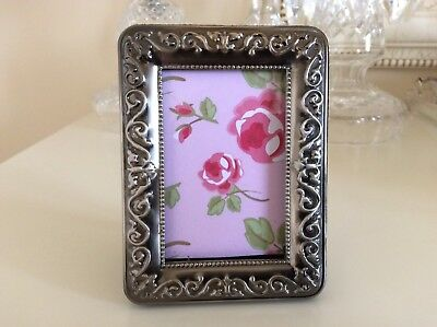Gorgeous Small Vintage Silver Plated  Antique Finish Elegant Photo Frame