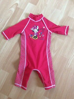 Disney Baby 9-12 Months Swimsuit Red With Minnie Mouse. Sleeved. Poppers Under.