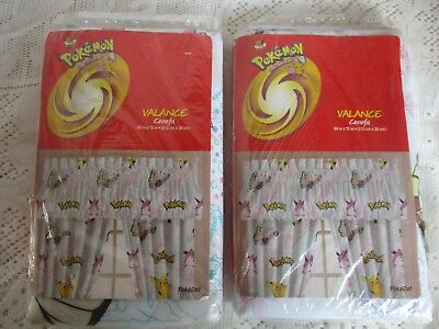 2 Pokemon Pikachu Window Valance Curtains