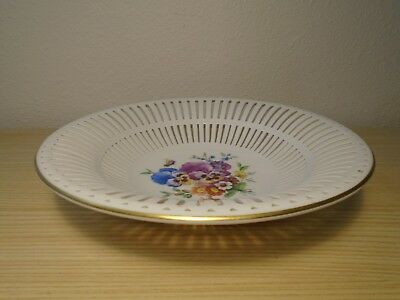 Old Kpm Berlin Porcelain Hand-Painted Reticulated/perforated Fruit Bowl