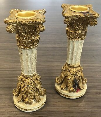 """A Pair of 5.5"""" Inches Tall Ceramic Antique/Classical Looking Candle Stands"""