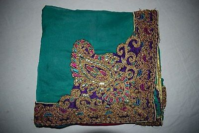 Vintage Paisley Dgn Dupatta Long Scarf Hand Emb Beaded Fabric Veil Stole L""