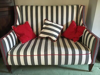 Antique fully restored Edwardian Sofa - Charcoal and white stripe with red trim