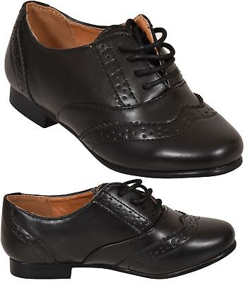 Girls School Lace up Brogue Shoes Ladies Smart Office Formal Black Boots UK Size