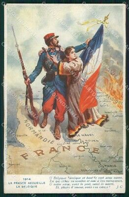 WWI WW1 French Propaganda Flag cartolina XF9145