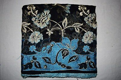 Exotic Floral Indian Traditional Hand Beaded Dupatta Georgette Hijab Veil Scarf