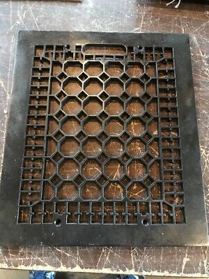 "R 1 antique honeycomb face for heating grate 12"" x 13 78"