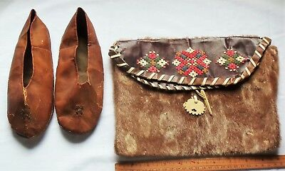 Vintage Alaska Indian Slippers and Pouch
