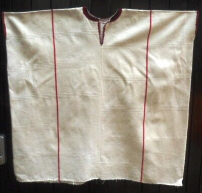 Ethnic Authentic Mexican Huipil. Long white with red edging and stripes, VGC