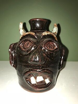 Brown Devil Face jug by Stanley and Mary Ferguson