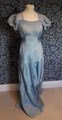 Vintage 1930s Early 1940s Blue Dress Art Deco Puff Sleeved Tiered Duck Egg Blue