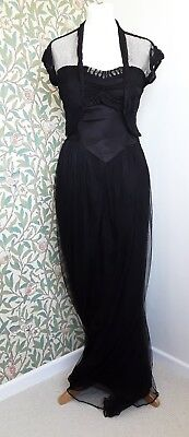 Vintage 1930s Dress Black Tulle Gown Antique Art Deco Original Strapless 2 Piece