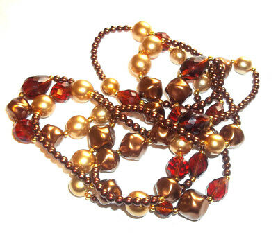 Metallic Glass Bead Endless Rope Necklace Copper Bronze Rootbeer 48 in.