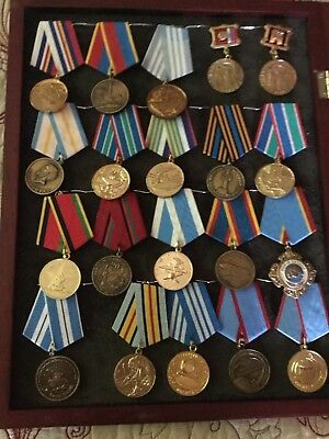 Post Soviet Russia Medals - 20 Miscellaneous - In Display Case